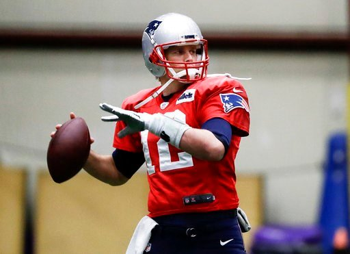 (AP Photo/Mark Humphrey). New England Patriots quarterback Tom Brady throws during a practice Wednesday, Jan. 31, 2018, in Minneapolis. The Patriots are scheduled to face the Philadelphia Eagles in the NFL Super Bowl 52 football game Sunday, Feb. 4.