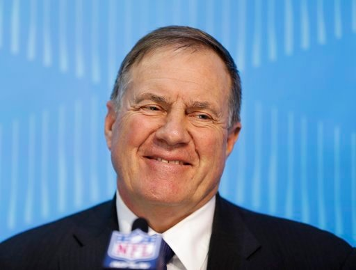 (AP Photo/Matt Slocum). New England Patriots head coach Bill Belichick answers questions during NFL football Super Bowl 52 Opening Night Monday, Jan. 29, 2018, at the Xcel Center in St. Paul, Minn.