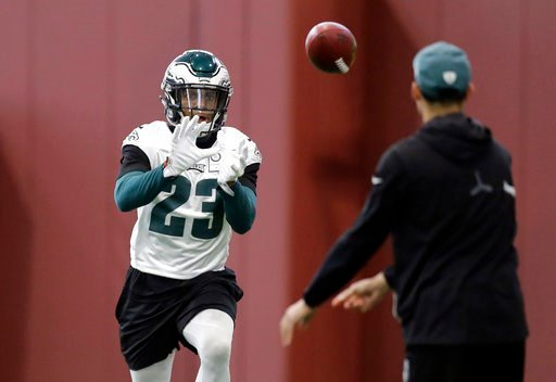 (AP Photo/Eric Gay). Philadelphia Eagles free safety Rodney McLeod (23) goes through drills during a practice for the NFL Super Bowl 52 football game Friday, Feb. 2, 2018, in Minneapolis. Philadelphia is scheduled to face the New England Patriots Sunday.