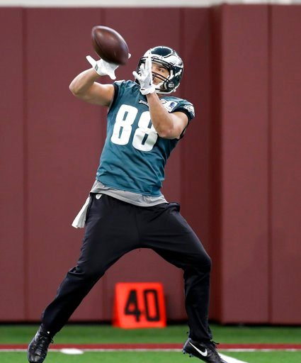 (AP Photo/Eric Gay). Philadelphia Eagles tight end Trey Burton (88) catches a pass during a practice for the NFL Super Bowl 52 football game Friday, Feb. 2, 2018, in Minneapolis. Philadelphia is scheduled to face the New England Patriots Sunday.