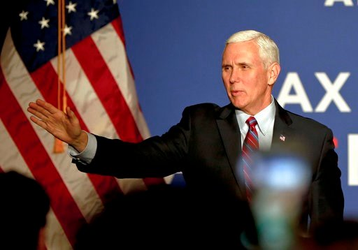 (AP Photo/Keith Srakocic). Vice President Mike Pence waves as he arrives for an America First Policies Event, Friday, Feb. 2, 2018, in Pittsburgh.