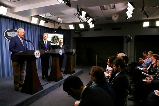 (AP Photo/Jacquelyn Martin). Under Secretary of State for Political Affairs Thomas Shannon, left, speaks next to Deputy Defense Secretary Patrick Shanahan, and Deputy Energy Secretary Dan Brouillette, during a news conference on the 2018 Nuclear Postur...