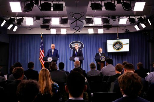 (AP Photo/Jacquelyn Martin). Under Secretary of State for Political Affairs Thomas Shannon, left, Deputy Defense Secretary Patrick Shanahan, and Deputy Energy Secretary Dan Brouillette, lead a news conference on the 2018 Nuclear Posture Review, at the ...