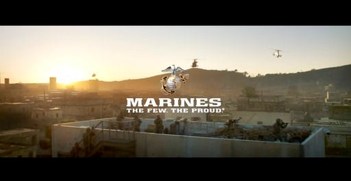 (U.S. Marine Corps via AP). This image from a video released by the U.S. Marine Corps, that will be shown online only Sunday during the Super Bowl and targeting a young, tough, tech-savvy audience for potential recruits who are looking for a challenge....