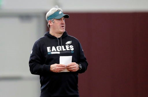 (AP Photo/Eric Gay). Philadelphia Eagles head coach Doug Pederson watches the team's practice for the NFL Super Bowl 52 football game Friday, Feb. 2, 2018, in Minneapolis. Philadelphia is scheduled to face the New England Patriots Sunday.