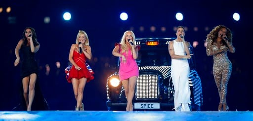 (AP Photo/Matt Dunham, file). FILE - In this Sunday, Aug. 12, 2012 file photo, British band 'The Spice Girls' perform during the Closing Ceremony at the 2012 Summer Olympics, in London. All five former members of the Spice Girls have met up amid rumors...