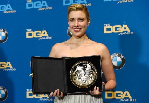 "(Photo by Chris Pizzello/Invision/AP). Greta Gerwig poses in the press room with a medallion honoring her nomination for outstanding directorial achievement in a feature film for ""Lady Bird"" at the 70th annual Directors Guild of America Awards at The B..."