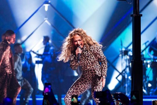 (Photo by Michael Zorn/Invision/AP). Jennifer Lopez performs at the Directv Super Saturday Night at The Armory on Saturday, Feb. 3, 2018, in Minneapolis.