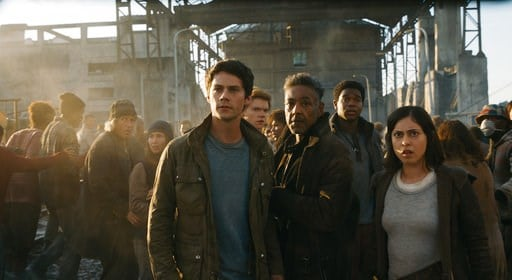 "(Twentieth Century Fox via AP, File). FILE - This undated image released by Twentieth Century Fox shows, foreground from left, Dylan O'Brien, Giancarlo Esposito and Rosa Salazar in a scene from ""Maze Runner: The Death Cure.""  Last week's no. 1 film, ""M..."