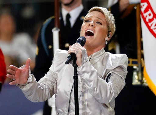 (AP Photo/Matt York). Pink performs the national anthem before the NFL Super Bowl 52 football game between the Philadelphia Eagles and the New England Patriots Sunday, Feb. 4, 2018, in Minneapolis.