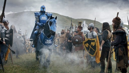 (Bud Light via AP). This photo provided by Bud Light shows a scene from the company's Super Bowl spot. For the 2018 Super Bowl, marketers are paying more than $5 million per 30-second spot to capture the attention of more than 110 million viewers.