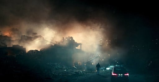 """(Netflix via AP). This image released by Netflix shows a scene from """"The Cloverfield Paradox,"""" a film that will be released on Netflix immediately following the Super Bowl on Sunday, Feb. 4."""