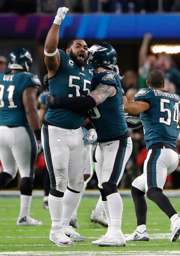 (AP Photo/Chris O'Meara). Philadelphia Eagles defensive end Brandon Graham (55) celebrates after causing a fumble by New England Patriots quarterback Tom Brady, during the second half of the NFL Super Bowl 52 football game, Sunday, Feb. 4, 2018, in Min...