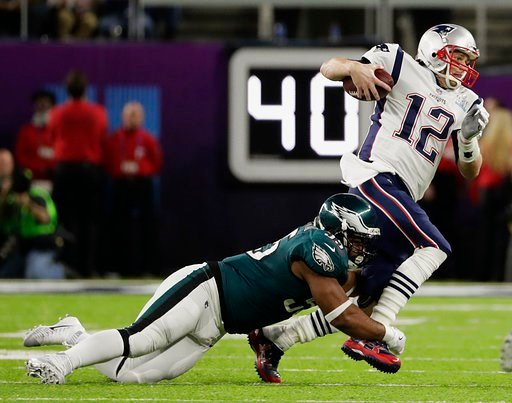 (AP Photo/Frank Franklin II). Philadelphia Eagles defensive end Brandon Graham (55) tackles New England Patriots quarterback Tom Brady (12), during the first half of the NFL Super Bowl 52 football game, Sunday, Feb. 4, 2018, in Minneapolis.