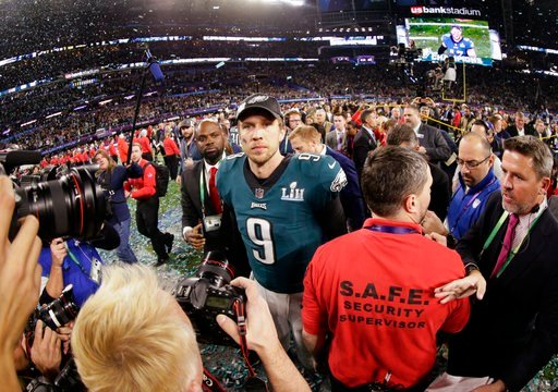 (AP Photo/Frank Franklin II). Philadelphia Eagles quarterback Nick Foles (9) walks on the field after winning the NFL Super Bowl 52 football game against the New England Patriots, Sunday, Feb. 4, 2018, in Minneapolis. The Eagles won 41-33.