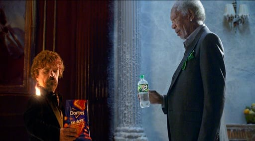 (PepsiCo via AP). This photo provided by PepsiCo shows Peter Dinklage and Morgan Freeman in a scene from the company's linked Doritos Blaze and Mountain Dew Ice Super Bowl spots. For the 2018 Super Bowl, marketers are paying more than $5 million per 30...