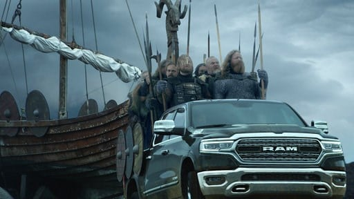 (Ram Truck Brand via AP). This photo provided by Ram Truck Brand shows a scene from the company's Super Bowl spot. For the 2018 Super Bowl, marketers are paying more than $5 million per 30-second spot to capture the attention of more than 110 million v...