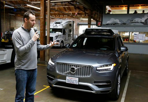 (AP Photo/Eric Risberg, File). FILE - In this photo taken Tuesday, Dec. 13, 2016, file photo, Anthony Levandowski, then-head of Uber's self-driving program, speaks about their driverless car in San Francisco. A Google-bred pioneer in self-driving cars ...