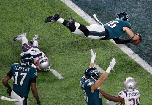 (AP Photo/Eric Gay). Philadelphia Eagles tight end Zach Ertz scores past New England Patriots free safety Devin McCourty during the second half of the NFL Super Bowl 52 football game Sunday, Feb. 4, 2018, in Minneapolis.