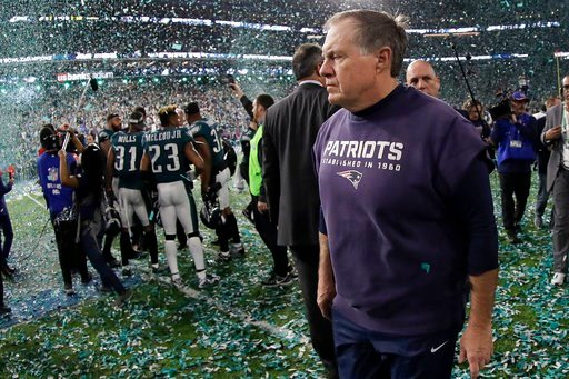 (AP Photo/Mark Humphrey). New England Patriots head coach Bill Belichick walks off the field after the NFL Super Bowl 52 football game against the Philadelphia Eagles Sunday, Feb. 4, 2018, in Minneapolis. The Eagles won 41-33.
