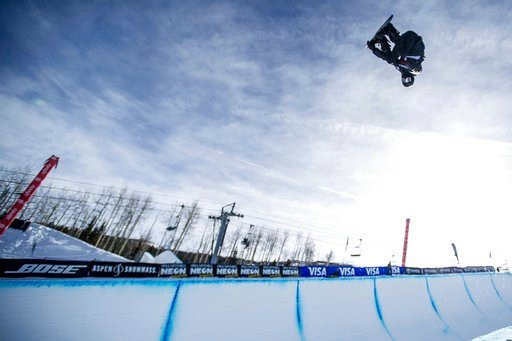 (Anna Stonehouse/The Aspen Times via AP, File). FILE - In this Jan. 13, 2018, file photo, Shaun White makes a practice run before men's snowboard halfpipe finals at Snowmass, Colo. White has redoubled his effort on the halfpipe. And in the end, one thi...