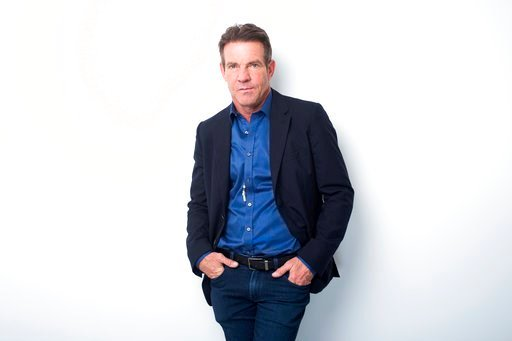 """(Photo by Scott GriesInvision/AP, File). FILE - In this April 11, 2017 file photo, Dennis Quaid poses for a portrait in New York.  Quaid is narrating a new audio edition of Tom Wolfe's prize-winning book about the space program, """"The Right Stuff."""" Quai..."""