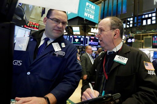 (AP Photo/Richard Drew). Specialist Anthony Matesic, left, and trader Gordon Charlop work on the floor of the New York Stock Exchange, Monday, Feb. 5, 2018. Stock markets around the world took another pummeling Monday as investors continued to fret ove...
