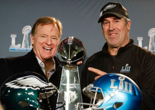 (AP Photo/Chris Carlson). NFL commissioner Roger Goodell and Philadelphia Eagles head coach Doug Pederson pose with trophy during a news conference after the NFL Super Bowl 52 football game Monday, Feb. 5, 2018, Bloomington, Minn. The Eagles won 41-33.