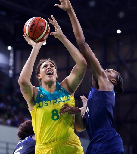 (AP Photo/Carlos Osorio, File). FILE - In this Tuesday, Aug. 9, 2016 file photo, Australia center Liz Cambage (8) shoots over France center Sandrine Gruda during the second half of a women's basketball game at the Youth Center at the 2016 Summer Olympi...