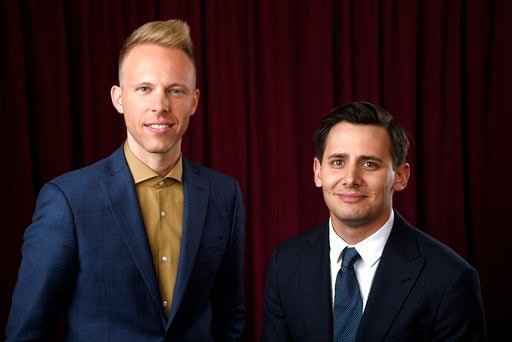 (Photo by Chris Pizzello/Invision/AP). Justin Paul, left, and Benj Pasek pose for a portrait at the 90th Academy Awards Nominees Luncheon at The Beverly Hilton hotel on Monday, Feb. 5, 2018, in Beverly Hills, Calif.