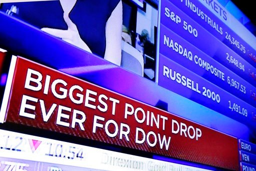 (AP Photo/Richard Drew). A television screen on the floor of the New York Stock Exchange headlines the stock index news at the close of trading, Monday, Feb. 5, 2018. The Dow Jones industrial average plunged more than 1,100 points Monday as stocks took...
