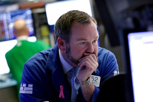 (AP Photo/Richard Drew). Specialists Charles Boeddinghaus works on the floor of the New York Stock Exchange, Monday, Feb. 5, 2018. The Dow Jones industrial average plunged more than 1,100 points Monday as stocks took their worst loss in six and a half ...