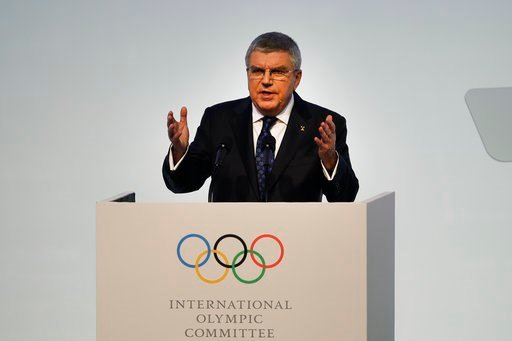 (AP Photo/Jae C. Hong). IOC President Thomas Bach speaks during the opening ceremony of the 132nd IOC session ahead of the 2018 Winter Olympics in Gangneung, South Korea, Monday, Feb. 5, 2018.