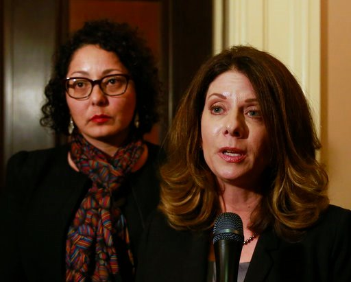 (AP Photo/Rich Pedroncelli). Assemblywoman Melissa Melendez, R-Lake Elsinore, right, and Assemblywoman Cristina Garcia, left, meet with reporters after the Assembly approved their bill to provide whistleblower protection for legislative staff members, ...