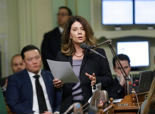 (AP Photo/Rich Pedroncelli). Assemblywoman Melissa Melendez, R-Lake Elsinore, urges lawmakers to approve her whistleblower protection for legislative staff members Monday, Feb. 5, 2018, in Sacramento, Calif. The bill, AB403, was approved by the Assembl...