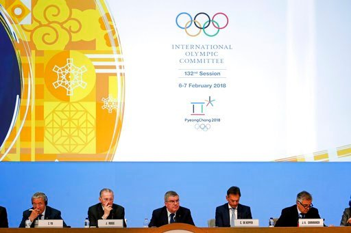 (AP Photo/Patrick Semansky). International Olympic Committee President Thomas Bach, bottom center, leads the 132nd IOC Session prior to the 2018 Winter Olympics in Pyeongchang, South Korea, Tuesday, Feb. 6, 2018.