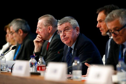 (AP Photo/Patrick Semansky). International Olympic Committee President Thomas Bach leads the 132nd IOC Session prior to the 2018 Winter Olympics in Pyeongchang, South Korea, Tuesday, Feb. 6, 2018.