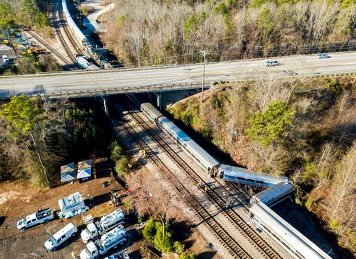 ( AP Photo/Jeff Blake). The site of Sunday's early morning train crash between an Amtrak train, bottom, and a CSX freight train, top left, in Cayce, S.C.  Federal investigators are planning to give an update on their probe into a deadly crash between a...