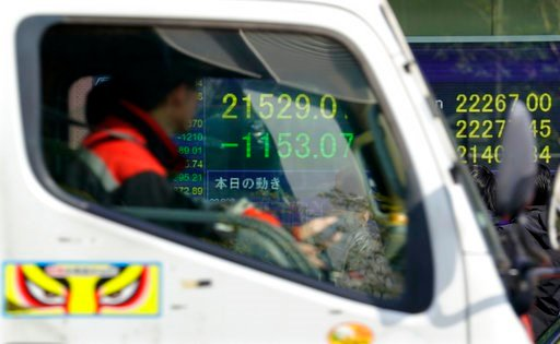 (AP Photo/Shizuo Kambayashi). An electronic stock indicator of a securities firm showing the Nikkei 225 is seen through windows of a passing car in Tokyo, Tuesday, Feb. 6, 2018. Shares tumbled in Asia on Tuesday after a wild day for U.S. markets that r...
