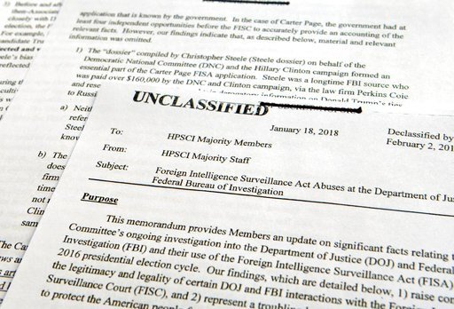 (AP Photo/Susan Walsh). A intelligence memo is photographed in Washington, Friday, Feb. 2, 2018. After President Donald Trump declassified the memo, the Republican-led House Intelligence Committee released the memo based on classified information that ...