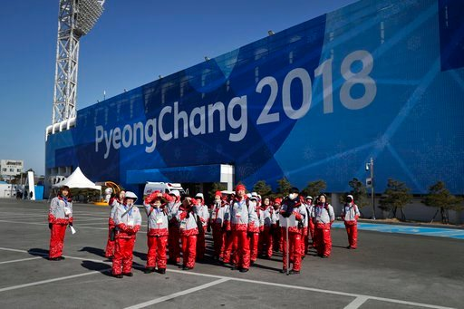 (AP Photo/Jae C. Hong). Volunteers tour the Olympic Park ahead of the 2018 Winter Olympics in Gangneung, South Korea, Tuesday, Feb. 6, 2018. The Gangneung coastal cluster is hosting the ice sports, including figure skating, speed skating, hockey and cu...