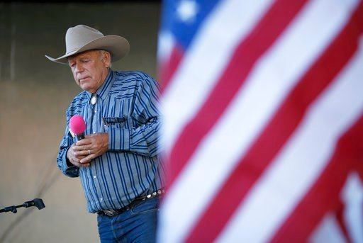 (AP Photo/John Locher, File). ** HOLD FOR STORY ** File - In this April 11, 2015, file photo, rancher Cliven Bundy speaks at an event in Bunkerville, Nev. Bundy has long resisted federal control of public land, culminating in an armed standoff in 2014 ...