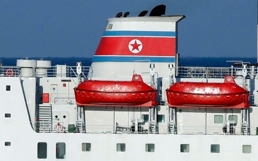 (AP Photo/Lee Jin-man). A North Korean flag is seen on North Korea's Mangyongbong-92 ferry carrying a 140-member art troupe  as its approaches to Mukho Port in Donghae, South Korea, Tuesday, Feb. 6, 2018. The art troupe, led by Hyon Song Wol, also the ...