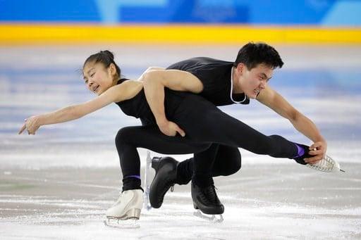 (AP Photo/Felipe Dana). North Korea's Ryom Tae Ok, left, and Kim Ju Sik, perform during a Pair Figure Skating training session prior to the 2018 Winter Olympics in Gangneung, South Korea, Saturday, Feb. 3, 2018.