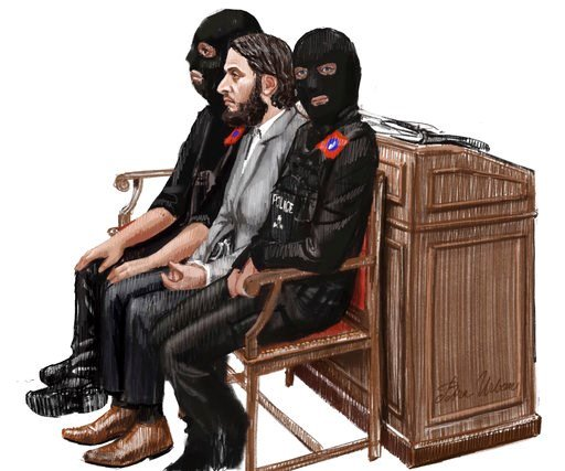 (Petra Urban via AP). In this courtroom sketch, Salah Abdeslam, center, sits between two police officers during his trial at the Brussels Justice Palace in Brussels on Monday, Feb. 5, 2018. Salah Abdeslam and Soufiane Ayari face trial for taking part i...