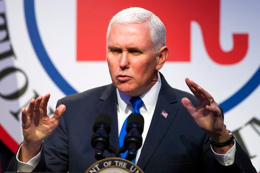 (AP Photo/Cliff Owen). In this Feb. 1, 2018, photo, Vice President Mike Pence addresses the Republican National Committee (RNC) Winter Meeting in Washington. Credit Pence with good timing when it comes to trying to avoid political messes. Another gover...