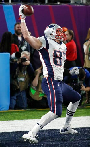 (AP Photo/Matt York). New England Patriots' Rob Gronkowski celebrates his touchdown catch during the second half of the NFL Super Bowl 52 football game against the Philadelphia Eagles Sunday, Feb. 4, 2018, in Minneapolis.