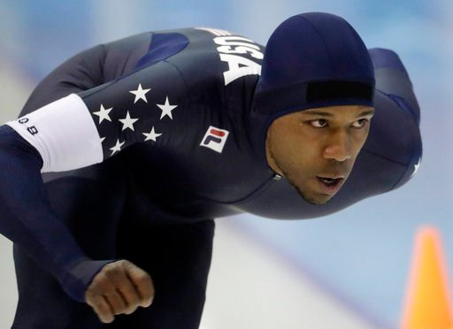 (AP Photo/Morry Gash, File). FILE - In this Jan. 3, 2018 file photo, Shani Davis competes in the men's 1,000 meters during the U.S. Olympic long track speedskating trials in Milwaukee.   Davis is heading to his fifth Olympics, searching for the kind of...