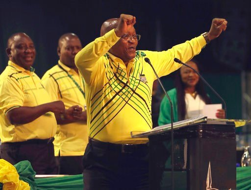 (AP Photo/Themba Hadebe, File). FILE - In this Saturday, Dec. 16, 2017 file photo, South African President Jacob Zuma, dances at the African National Conference (ANC) elective conference in Johannesburg.  Zuma has been enmeshed in a series of scandals ...