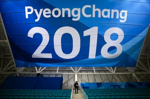 (AP Photo/Jae C. Hong, File). FILE - In this Feb. 6, 2018 file photo, a photographer walks down the steps underneath a large banner at the Gangneung Hockey Center ahead of the 2018 Winter Olympics in Gangneung, South Korea. Fresh off the Super Bowl, NB...
